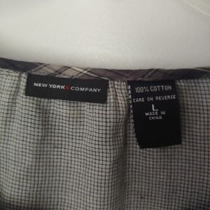 New York & Company Tops - New York & Company Gray Plaid Button-Down Top